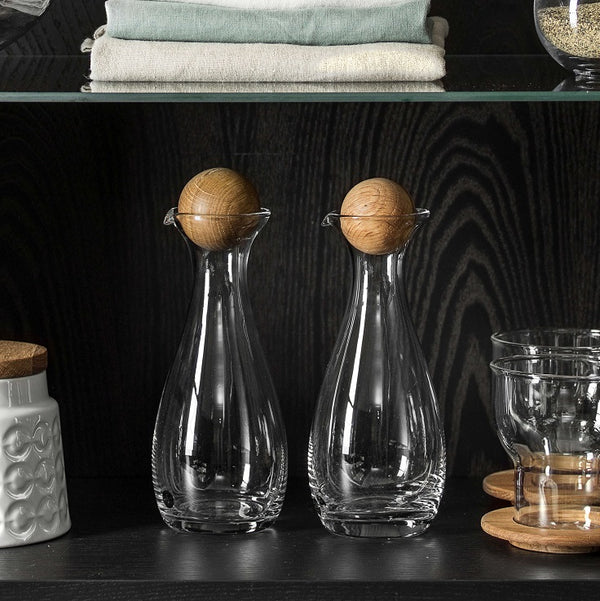 Nature Oil and Vinegar Bottles with Oak Stoppers, Set of 2
