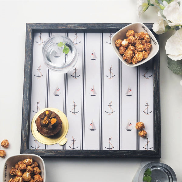 Patterned Square Tray - Nautical