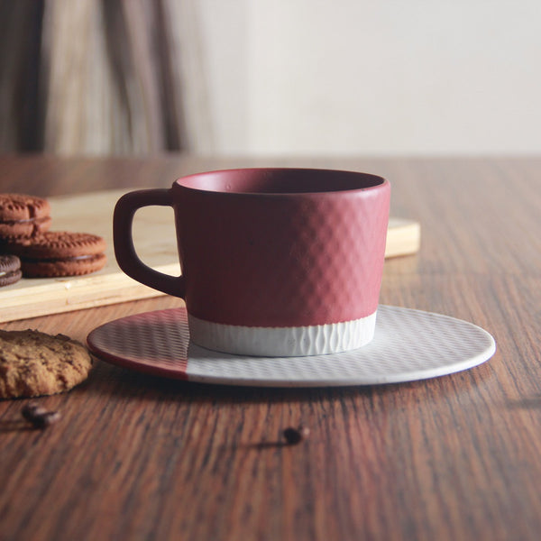 Nook Cup with Saucer - Kiln Red