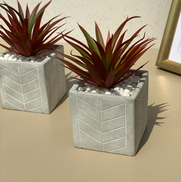 Nova Concrete Pot with Maroon Faux Plant