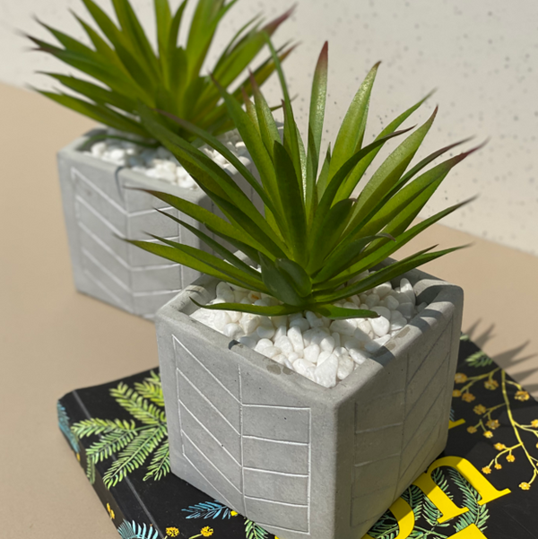 Nova Concrete Pot with Green Faux Plant