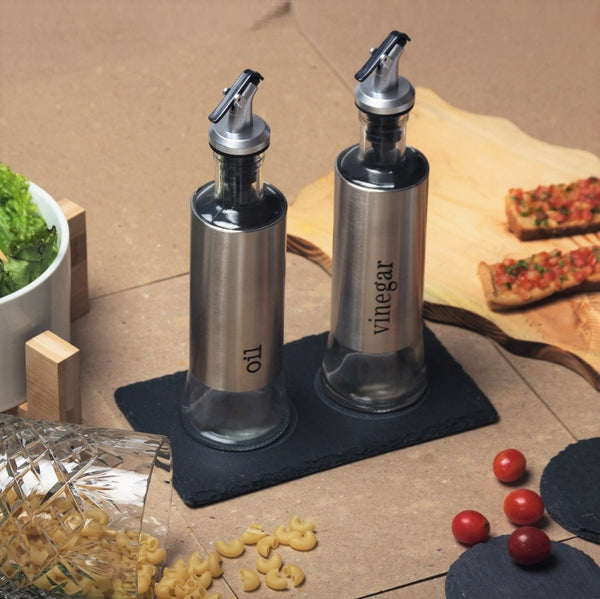 Oil & Vinegar Set with Slate Board