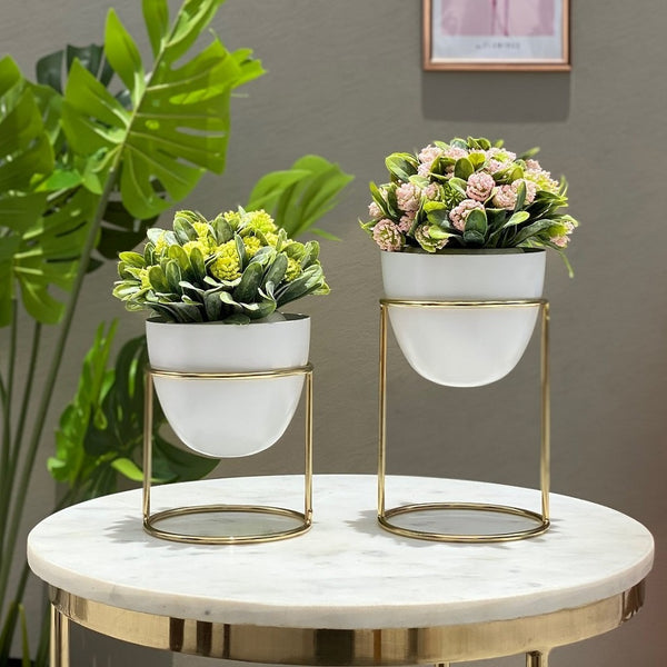 Olvera Small Desk Planters, Set of 2 - White