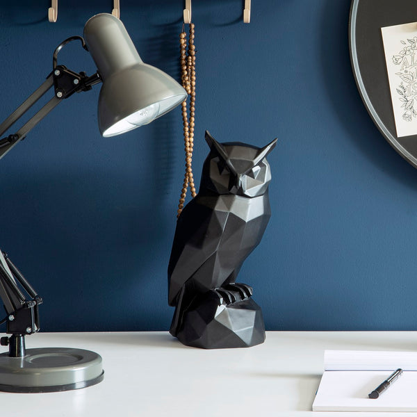 Owl Faceted Sculpture - Black
