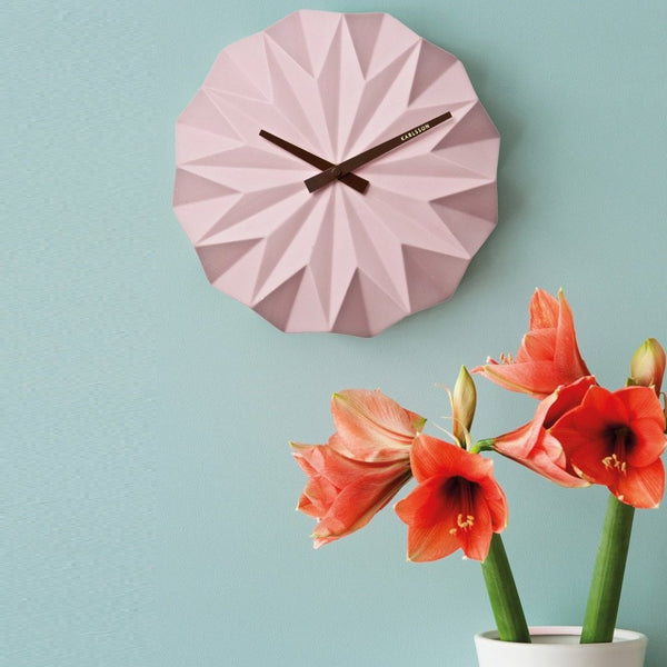 Origami Wall Clock - Pink
