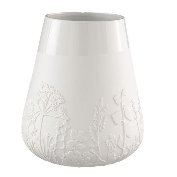 Embossed Flowers Porcelain Vase - White