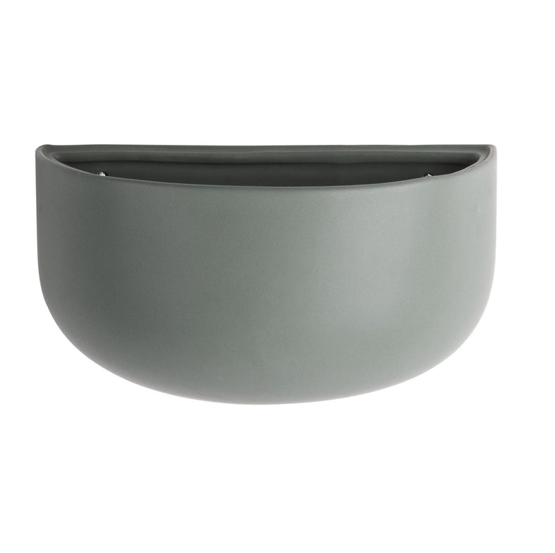 Ceramic Oval Wall Planter - Matte Green
