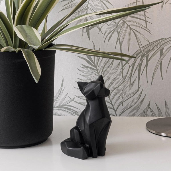 Fox Faceted Sculpture, Small - Black