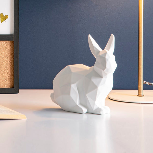 Bunny Faceted Sculpture, Small - White
