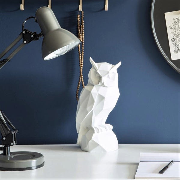 Owl Faceted Sculpture - White