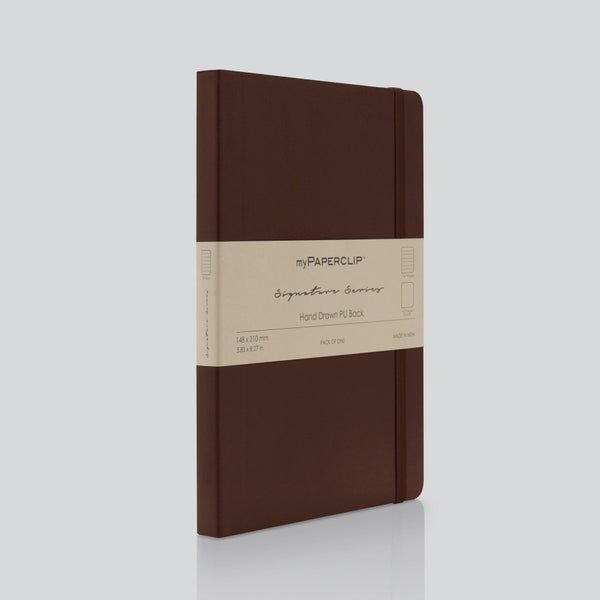 PU Back Notebook, Signature Series - Brown