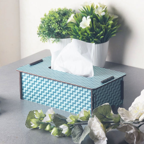 Tissue Box - Patterned Blue