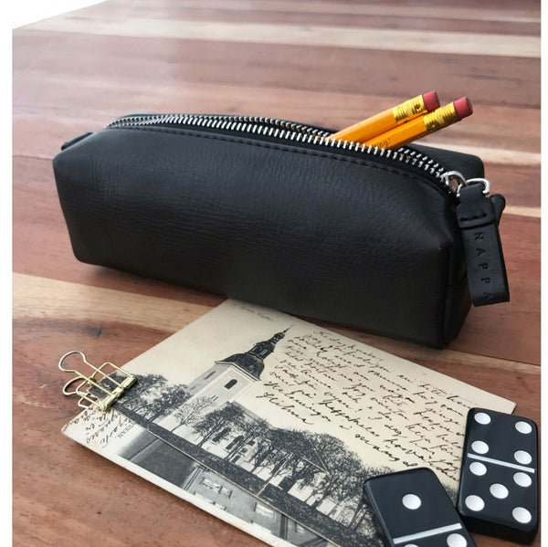 Leather Pencil Pouch - Black