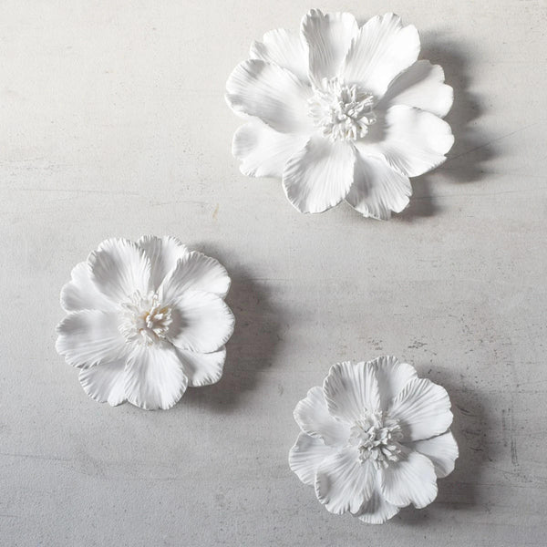 Peony Ceramic Wall Flowers, Set of 3