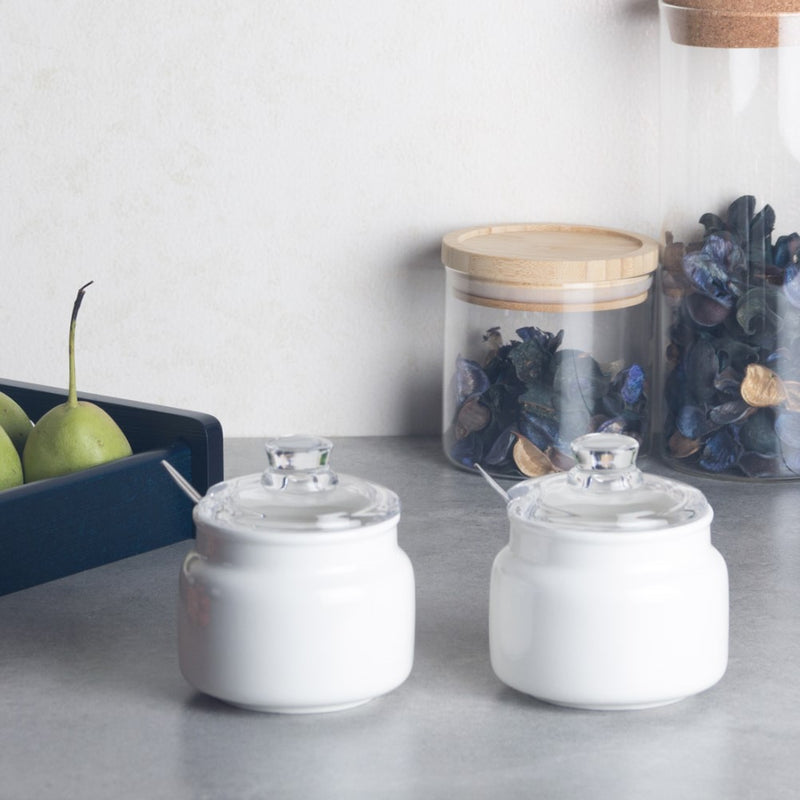 Porcelain Seasoning Jars with Glass Lid, Set of 2