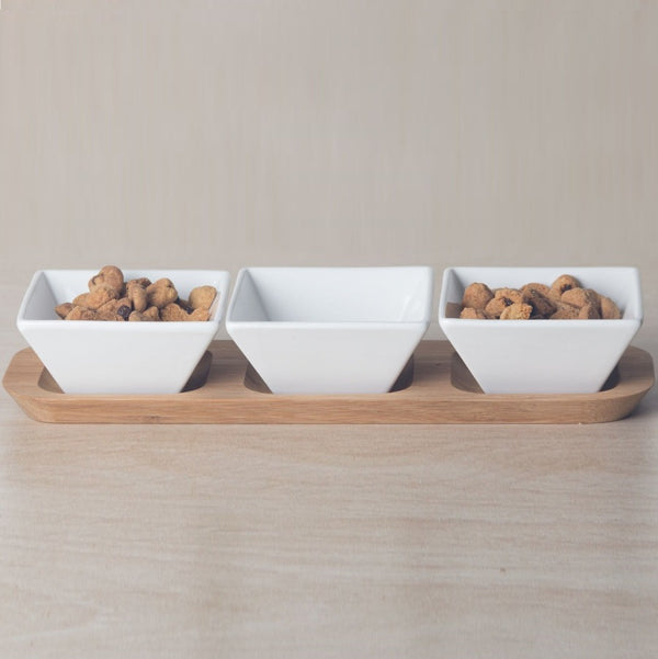 Porcelain Serving Bowls with Bamboo Base