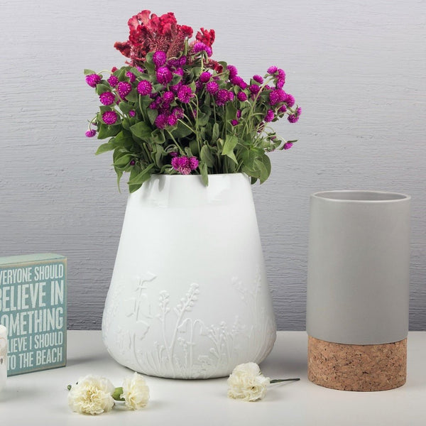 Embosssed Flowers Vase - White Porcelain