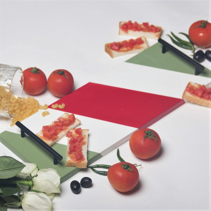 Patterned Long Tray -  Red Green