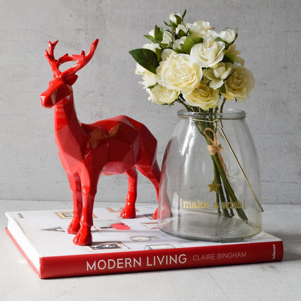 Burton Geometric Stag Sculpture - Red