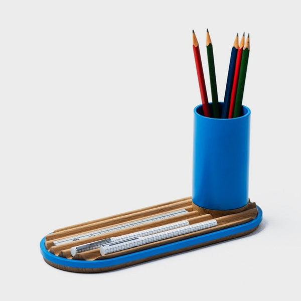 Ridge Desk Organizer - Azure Blue with Oak