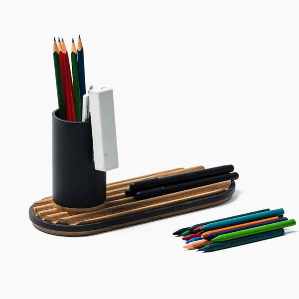 Ridge Desk Organizer - Space Black with Oak