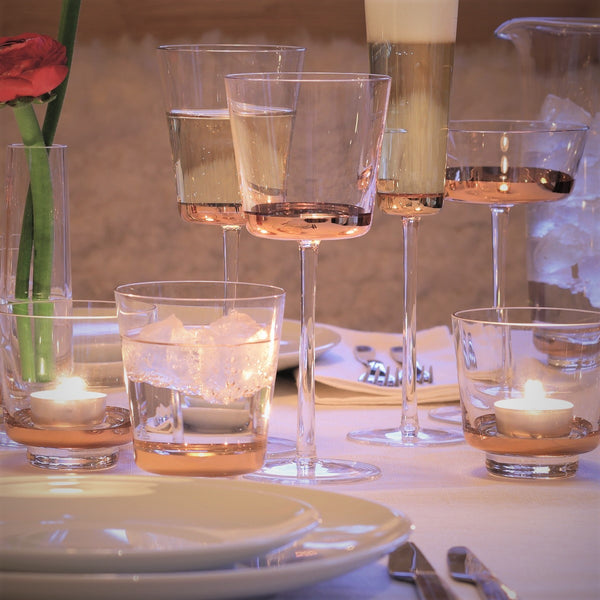 Rose Gold Edge Wine Glasses, Set of 2