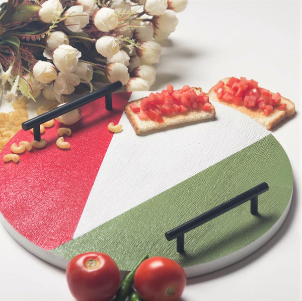 Patterned Round Tray -  Red Green