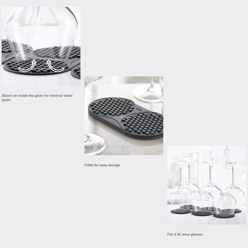 Silicone Glass Drying Mat - Slate Grey