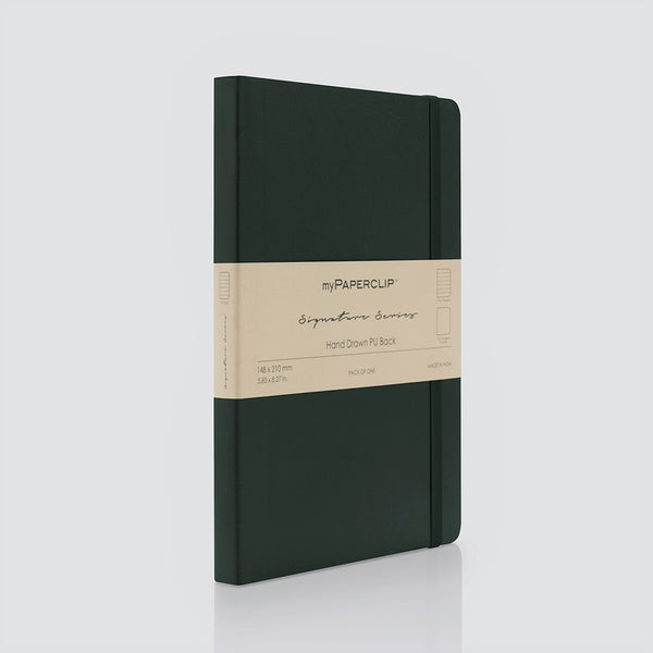PU Back Notebook, Signature Series - Green