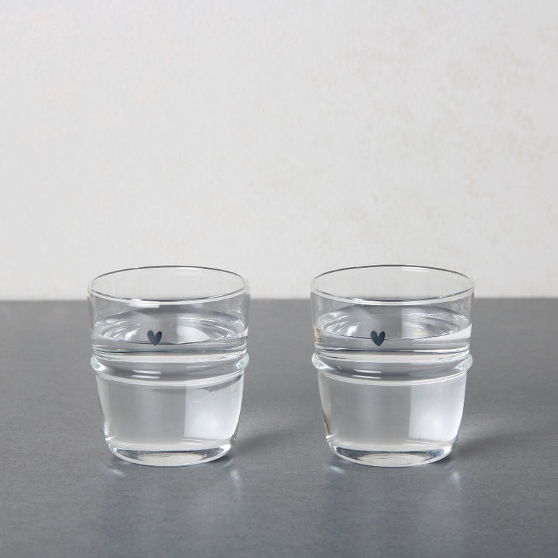 Stackable Short Glasses with Decal, Set of 2