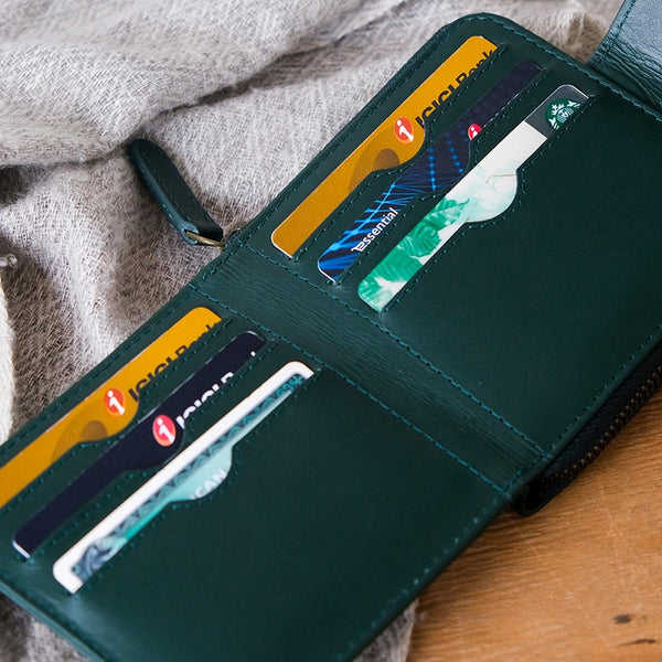 Siena Bifold Zipper Wallet - Emerald Green