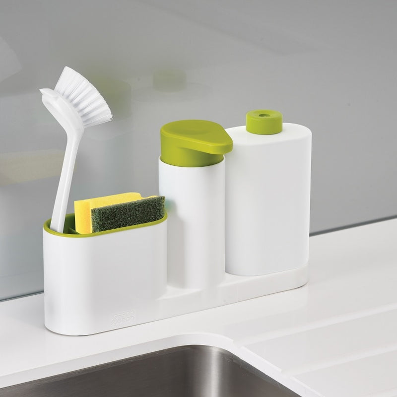 SinkBase Plus 3-piece Sink Tidy - White Green