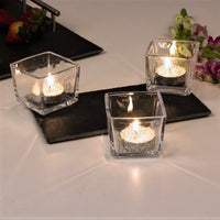 Glass Tealight Holders with Slate Board, Set of 3
