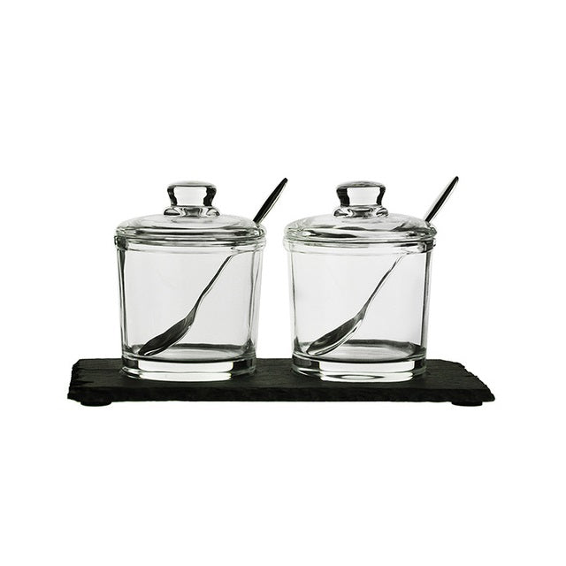 Condiment Jars with Slate Board, Set of 2
