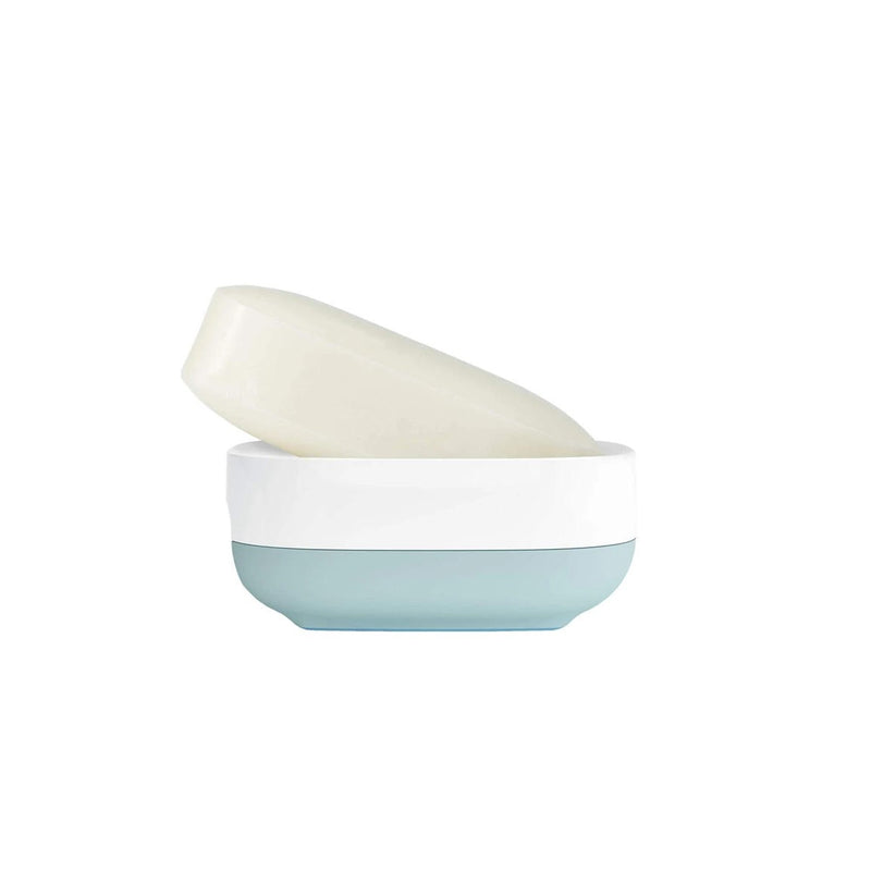 Slim Compact Soap Dish - White Blue