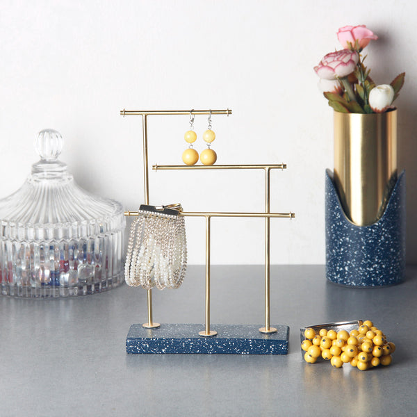 Speckled Trinkets Stand - Navy Gold
