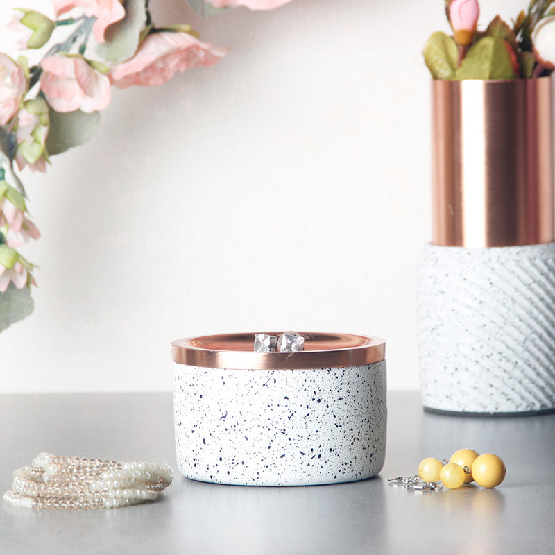 Speckled Trinkets Box - White Copper