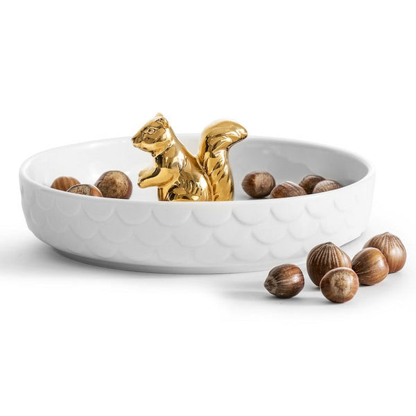 Squirrel Serving Bowl - White Gold