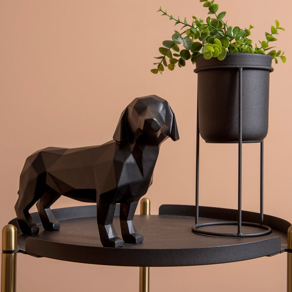 Standing Dog Faceted Sculpture - Black