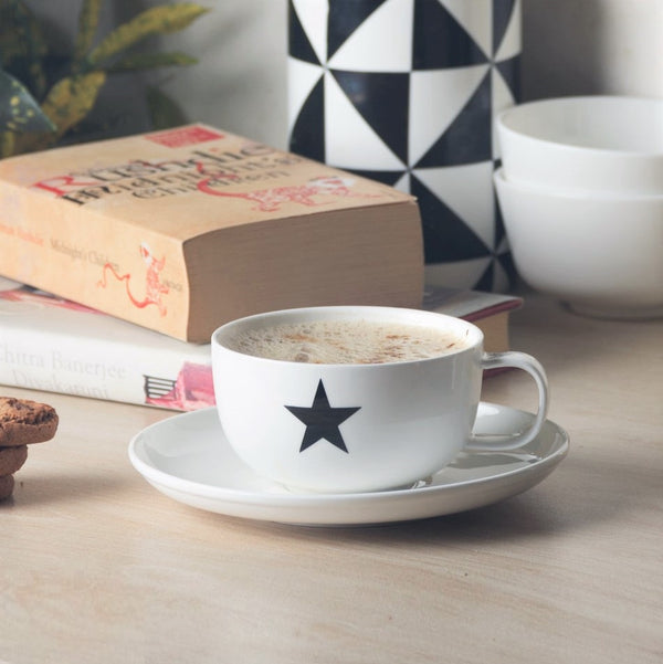 Porcelain Coffee Cup and Saucer Set - Star