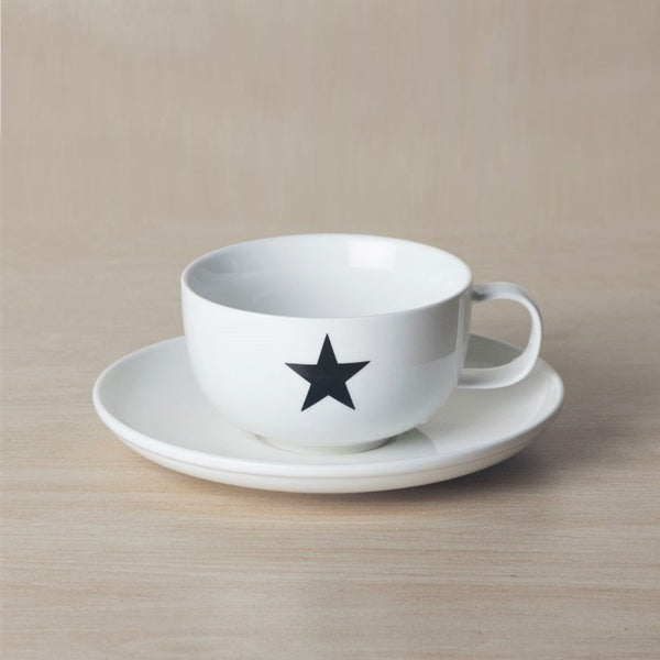 Porcelain Cofee Cup and Saucer Set - Star