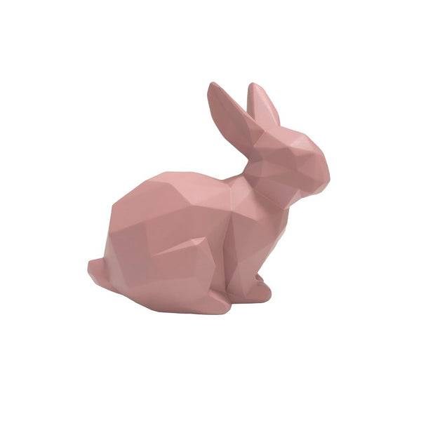 Bunny Faceted Sculpture, Small - Pink