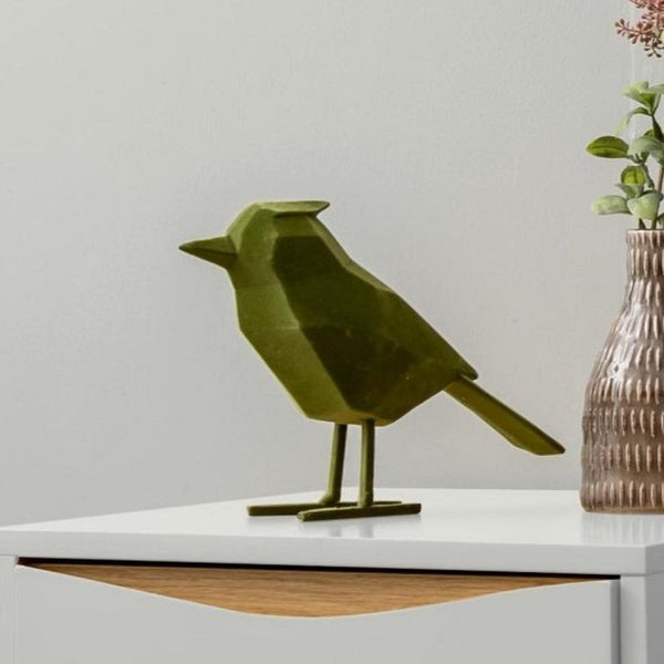 Bird Faceted Sculpture, Large - Flocked Green