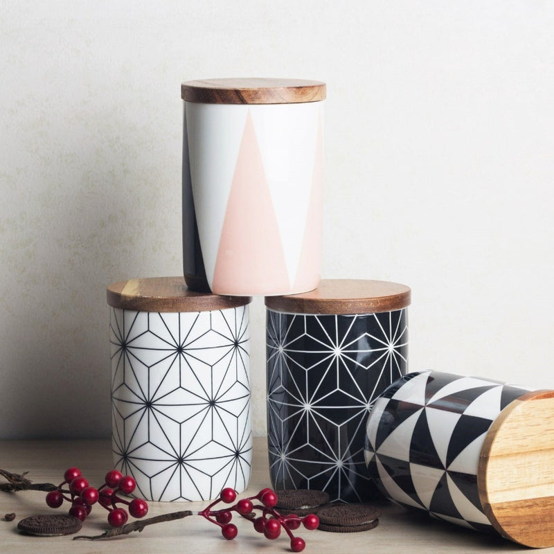 Patterned Storage Jar with Lid - Trapeze