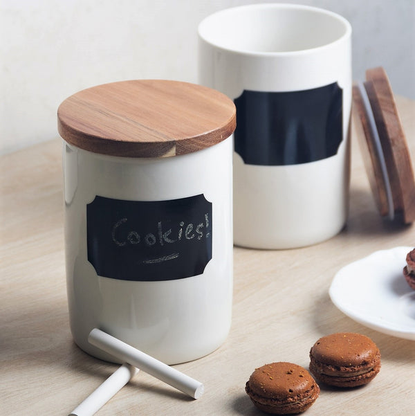 Porcelain Jar with Blackboard Decal and Chalk