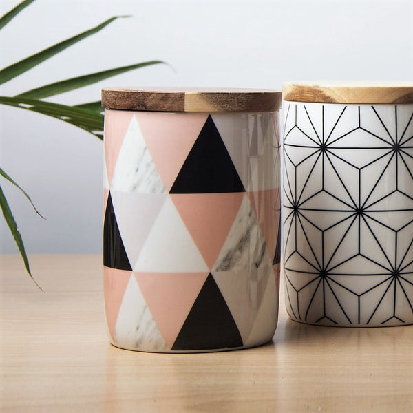 Storage Jar with Lid - Triangles
