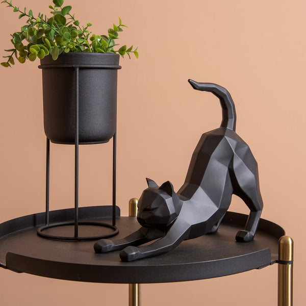 Stretching Cat Faceted Sculpture - Black