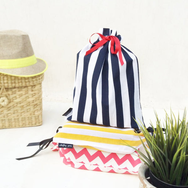 Striped Utility Bags, Set of 3