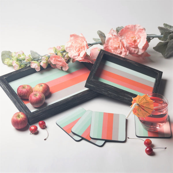 Trays & Coasters Set - Summer Stripes