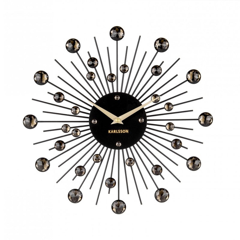 Sunburst Wall Clock Medium - Black